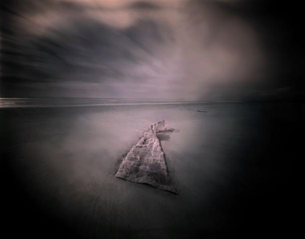 "Seascape 3, Pawleys Island, South Carolina 1987 pinhole photograph archival pigment print 13""x20"""