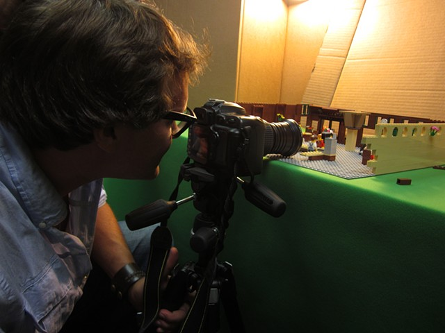 Chris McKay Shooting Stills of Lego set I fabricated