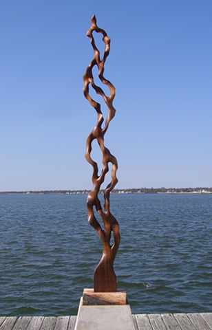 wood carving, sculpture, art, water, flow, current, seaweed, vine