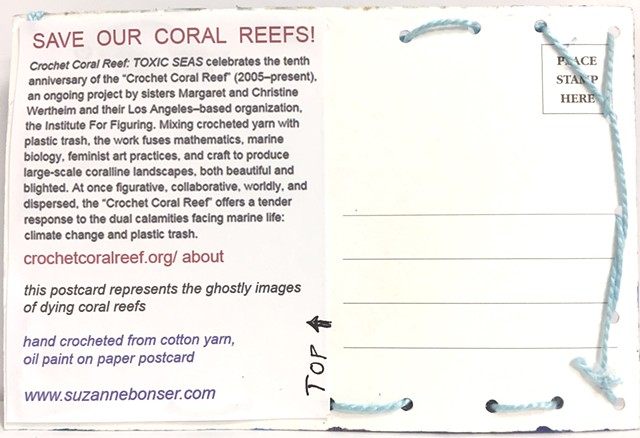 "back of ""Save Our Coral Reefs"" postcard"