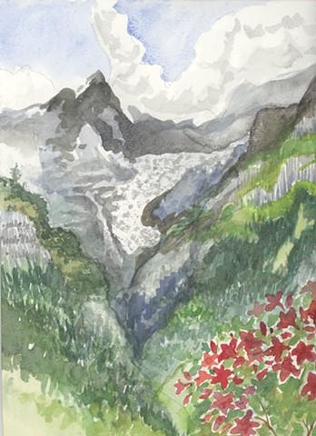 Glacier on the Monch, July in Switzerland