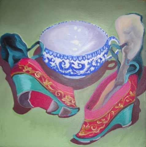 Willoware Teacup and Slippers
