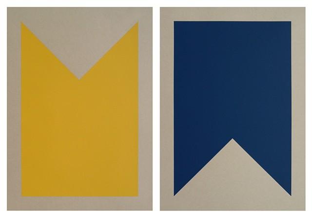 "B-Bravo. (Set of Two) (School Bus Yellow, Marine Blue) Each Print Measures 15"" x 21"""