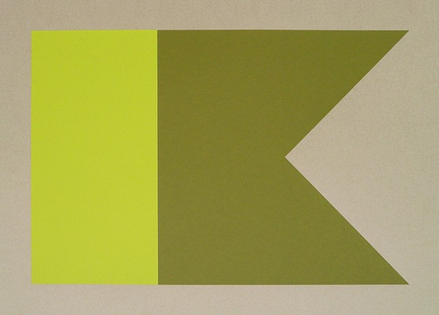 A-Alpha. Swallowtail (Yellow, Green) Screen Print on Paper  15 x 21 Inches