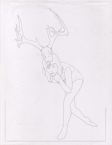 GRACEFUL STAND Graphite on Paper 8.5 x 11 Inches  Draft