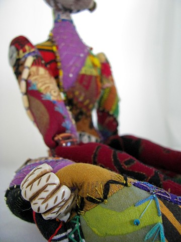 art, doll, art doll, cloth, mixed media, african, hand-made, original, crazy quilting