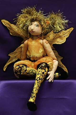 Handcrafted, cloth , art doll, fairy, faery, doll, art