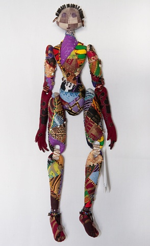 Quality, hand-crafted cloth art doll, african, african fabric, crazy quilt
