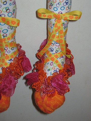 Hand-crafted cloth art doll, clown, shoes
