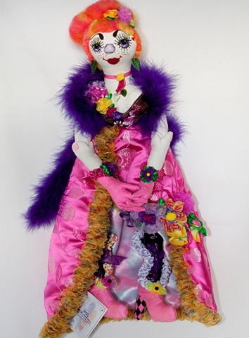 quality, handcrafted cloth art doll, clown`