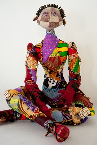 Quality hand-crafted cloth art doll, african, crazy quilt