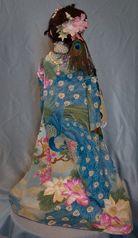 Quality, hand crafted art doll, princess, lady, peacock