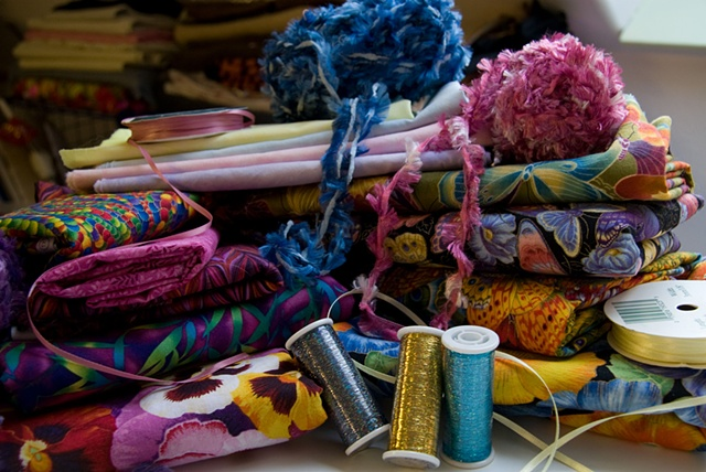 Fabric and ribbon and yarn, oh my!!