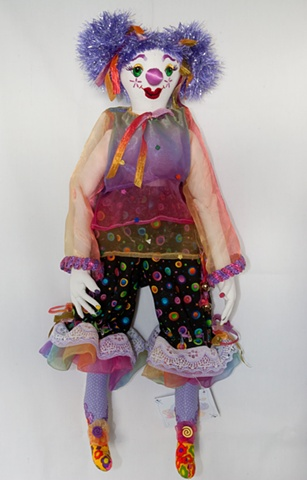 Quality, hand-crafted cloth art doll, clown