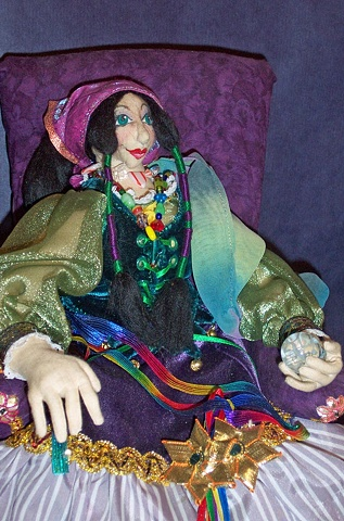 one-of-a-kind cloth art doll, hand-crafted, witch, gypsy, fortune teller
