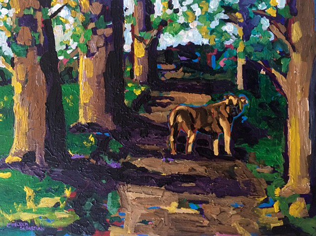 Dog painting chelsea sebastian brown boxer trees trail hiking