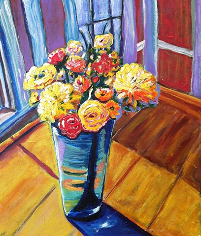 Chelsea sebastian blue vase yellow flowers colorful bouquet painting blue fun