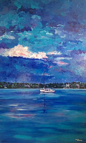 Sailboat cape cod chelsea sebastian sky water blue white clouds beautiful art