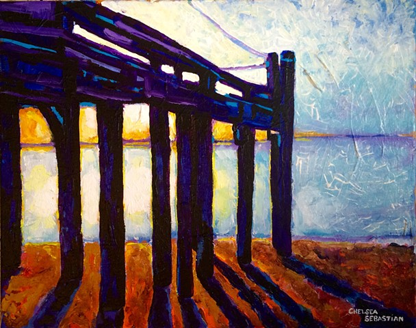 sunrise color provinctown MA art fine painting beach ocean chelsea sebastian