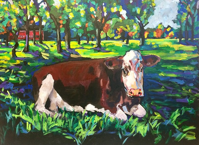 cow hunnewell wellesley colorful laying down chelsea sebastian art painting acrylic color farm