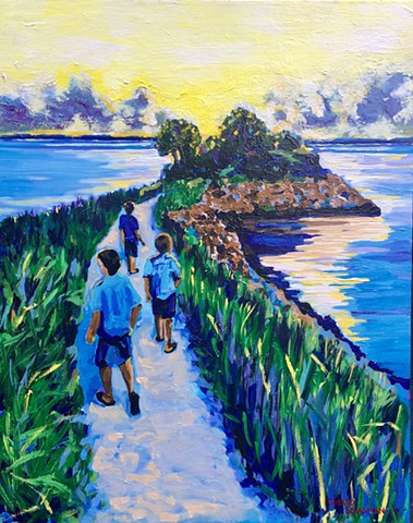 BEach boys chelsea sebastian art paintings cape cod blue children sunset