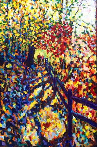 Chelsea Sebastian art painting walk couple Wellesley autumn fall nature colorful leaves trail hiking