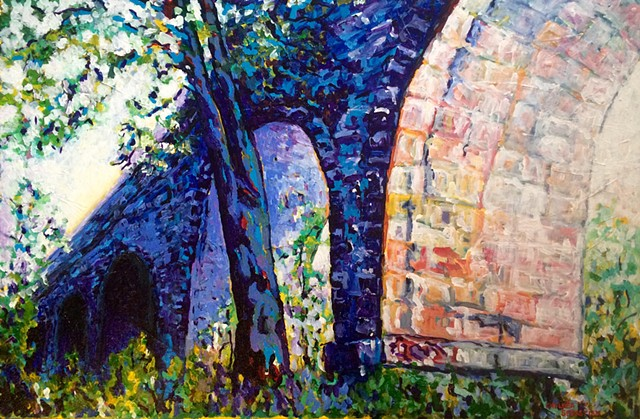 blue tree wellesey art colorful chelsea sebastian painting bridge aqueduct