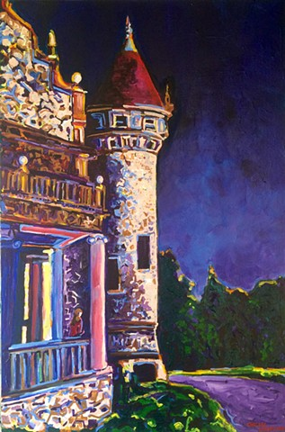 Wellesley town hall tower Chelsea Sebastian colorful art painting New England purple pink