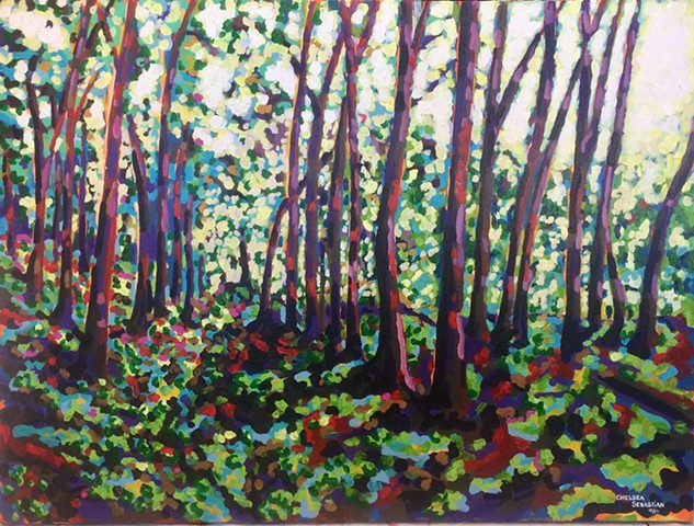chelsea sebastian trail painting trees color wellesley MA art bright light