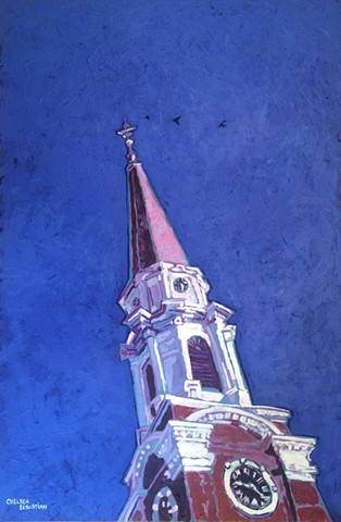 Wellesley art painting church blue colorful Chelsea Sebastian birds pink