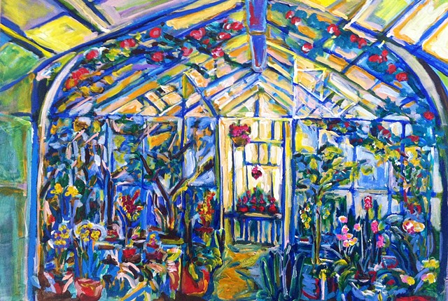 Greenhouse garden chelsea sebastian flowers colorful blue art artist painting