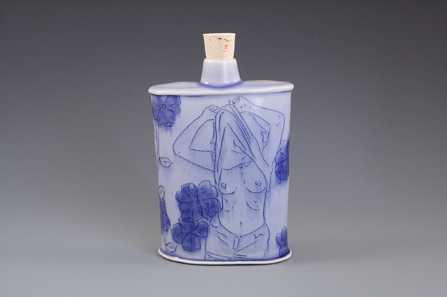 blue hipflask with flowers