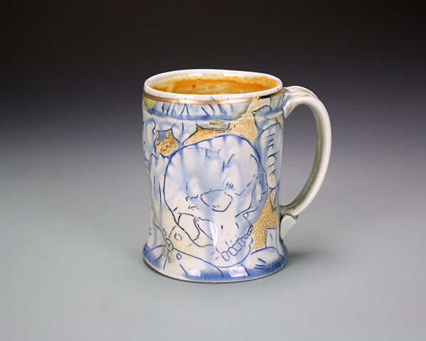 Blue and Gold Mug with Skull