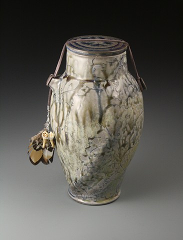 Blue Funerary Urn w/ rawhide, pheasant feather, deer tooth