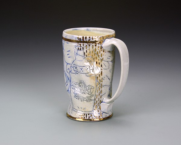 Beer Mug in blue and gold