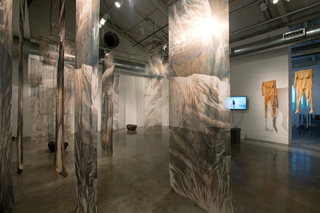 "Installation View 4  With Man Yee Lam, ""Skin"" installation (video, lates skin sculptures)"