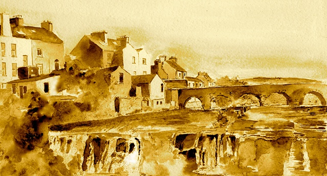 Falls, Ennistymon, Clare,Pen and Wash, Ireland