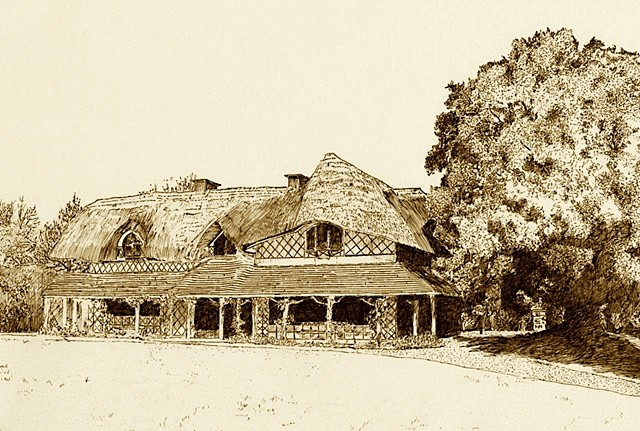 Swiss Cottage Cahir Sepia print
