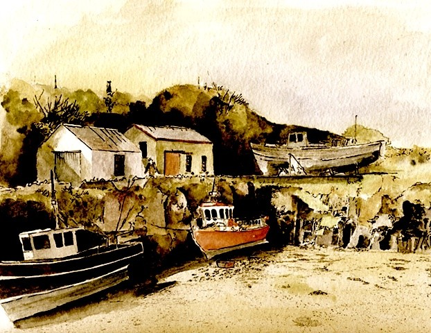 County Waterford,  Helvic Head Boats, Fishing Village,