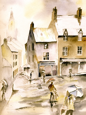 rain, watercolour,