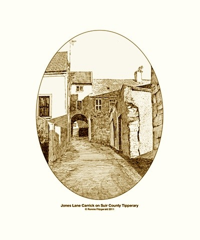 Jones Lane Carrick on Suir County Tipperary (Oval Print)