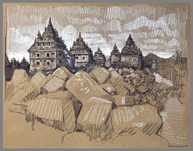 Travel Drawing: Plaosan Temples, Yogyakarta, Java, Indonesia