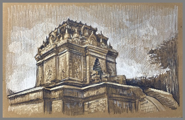 Travel Drawing: Mendut Temple, Java, Indonesia