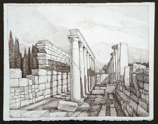 Travel Drawing:  Hierapolis,  Pamukkale, Turkey
