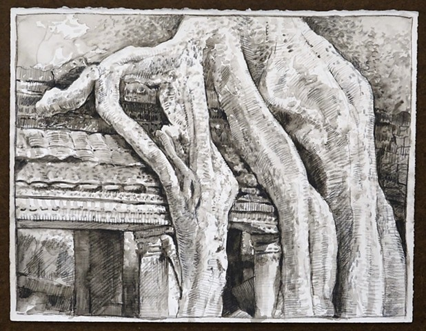 Travel Drawing: Ta Prohm, Cambodia