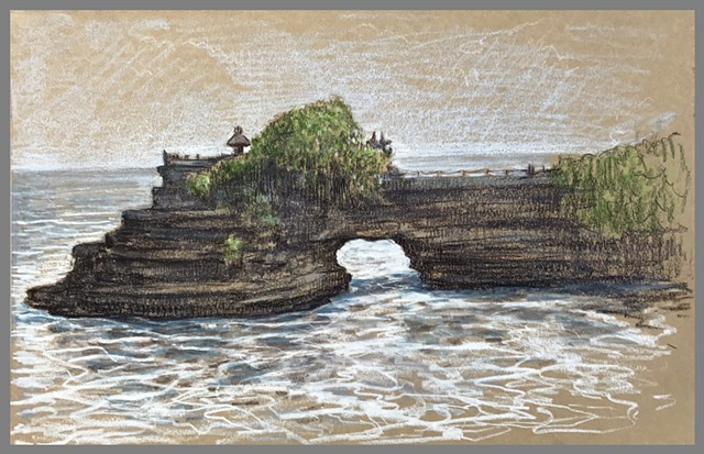Travel Drawing: Pura Batu Bolong, Tanah Lot, Bali, Indonesia