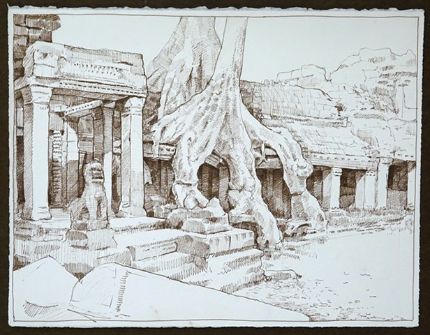 Travel Drawing: Preah Khan, Cambodia