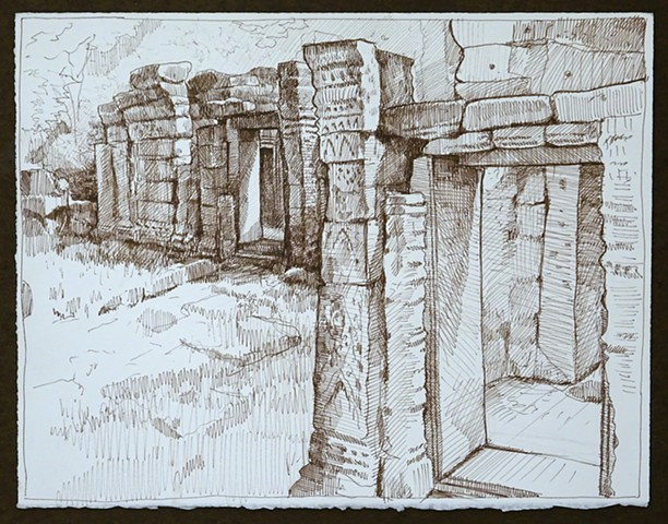 Travel Drawing: Prasat Krol Ko, Cambodia
