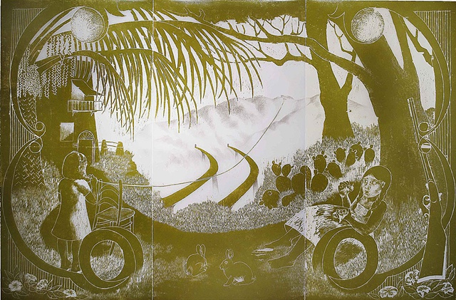 woodcut, drawing, printmaking, landscape