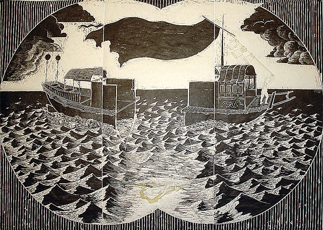 woodcut, drawing, printmaking, seascape